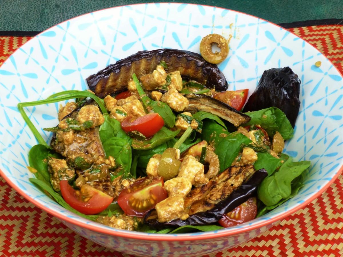 Roasted Eggplant/Aubergine and Spinach Salad with a Feta, Olive, Lemon ...