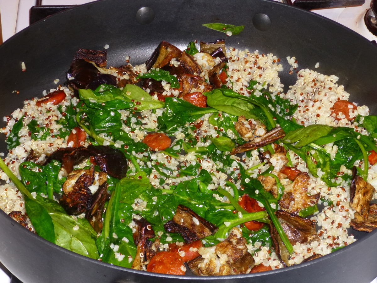 Chorizo, Bulgur Wheat and Spinach Salad with Roasted Eggplant and ...