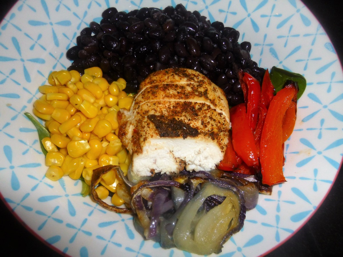Southern Baked Chicken and Vegetable Salad Bowl with a ...